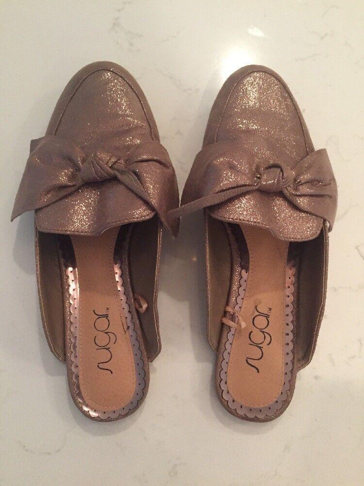 Sugar Darlie Mule Shoe Metallic Bow Slide Condition. Size 8.5. EUC Mint!! Condition. Slide aa5110