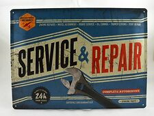 Superb Large Embossed 'Service & Repair' Tin Plate Wall Sign VW 40cm x 30cm NEW