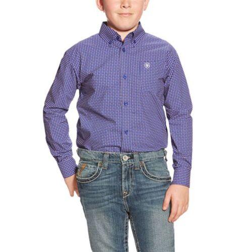 10018404 Ariat Boys Redding Blue Print Pattern Long Sleeve Western Shirt  NEW