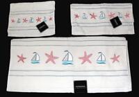 3 Kassa Fina Embroidered Sailboat Starfish Towel Set Bath Hand Fingertip