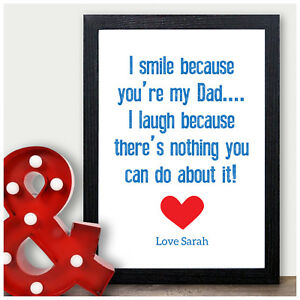 Image Is Loading Dad Birthday Gifts I Smile Because You 039