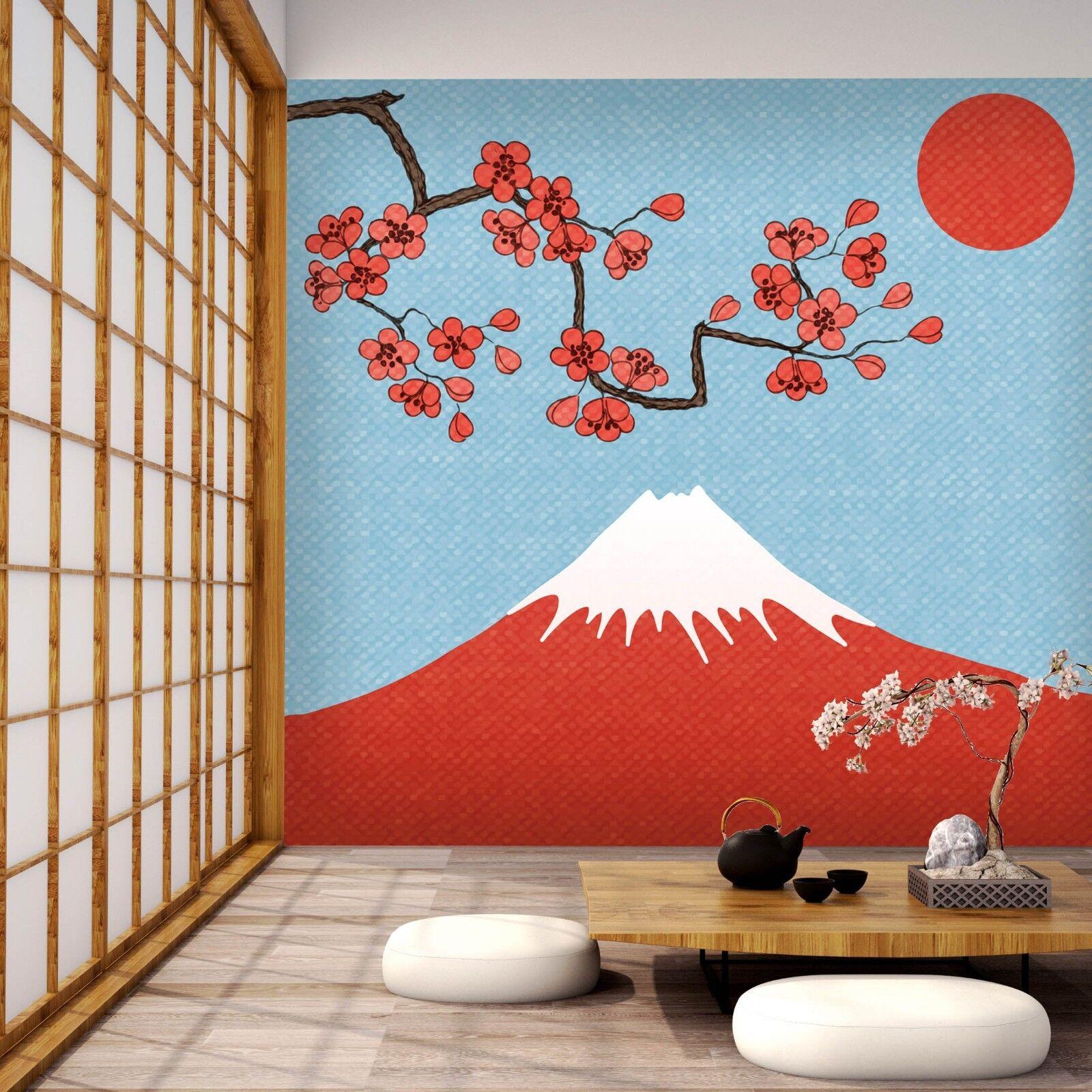 3D Mount Fuji Sun Flowers 4 Wall Paper Wall Print Decal Wall Deco Indoor Murals