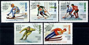 Laos-1983-84-Olimpiadi-Invernali-Sarajevo-5-pezzi-usati-m1341