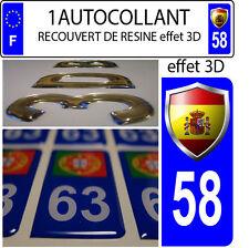 1 sticker targa auto TUNING 3D RESINA STEMMA SPAGNA DIPARTIMENTO 58