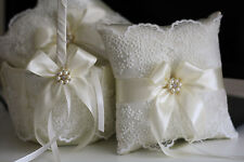 Ivory Wedding Pillow Basket Set  Lace Ring Holder and Flower Girl Basket