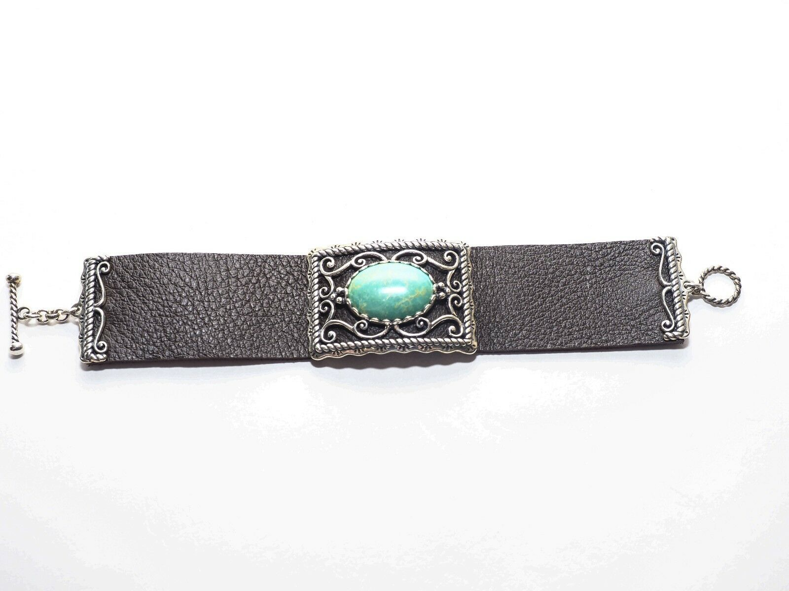 AMERICAN WEST STERLING OVAL GREEN TURQUOISE LEATHER TOGGLE BRACELET (1970-9)