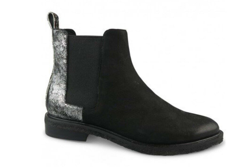 Wittner Harriette Boots In Black and Silver Leather, Chelsea Chelsea Chelsea Style, Brand New 38 87c995