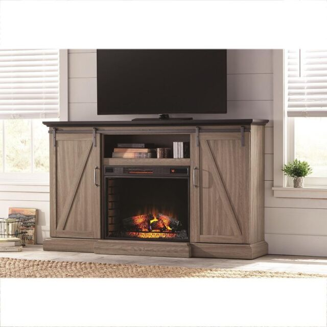 Home Decorators Collection 68 In Tv Stand Electric Fireplace Sliding Barn Door