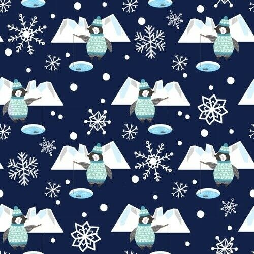Studio E YARD Christmas Winter Fabric Snow Happy Penguin Ice Fishing Blue