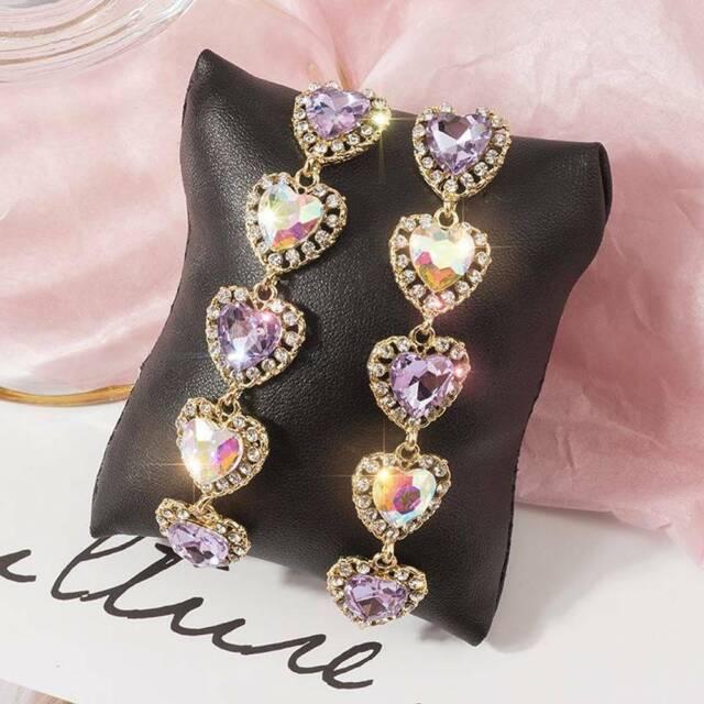 Pink Crystal Drop Dangle Earrings Long Love Heart  Rhinestone Earrings