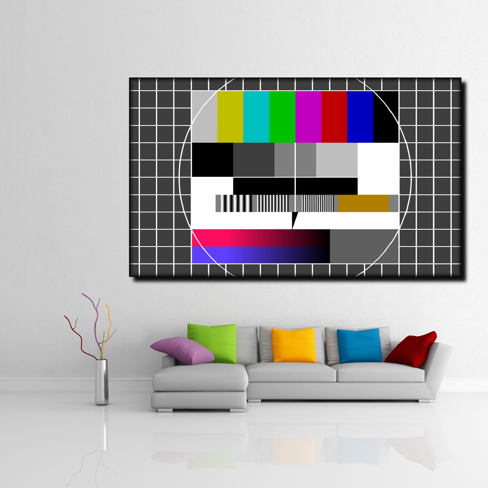 LEINWAND BILD ER XXL POP Kunst TESTBILD TV RETRO FERNSEHER ABSTRAKT POSTER  150x90