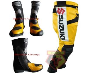 SUZUKI-GSX-YELLOW-MOTORBIKE-COWHIDE-LEATHER-ARMOURED-TROUSER-WITH-MATCHING-BOOTS