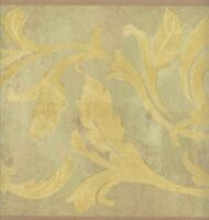 Wallpaper Border Yellow Acanthus Scroll On Lime Faux