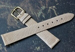 Beige-unstitched-Genuine-Lizard-18mm-vintage-Made-in-Italy-watch-band-1960s-70s