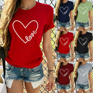 Womens-Valentine-039-s-Day-Casual-Short-Sleeve-O-Neck-Letter-Print-Heart-shaped-Tops