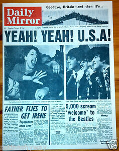 BEATLES-Arrive-in-USA-Daily-Mirror-Newspaper-Old-Antique-Pop-1960s-Beat-Yeah