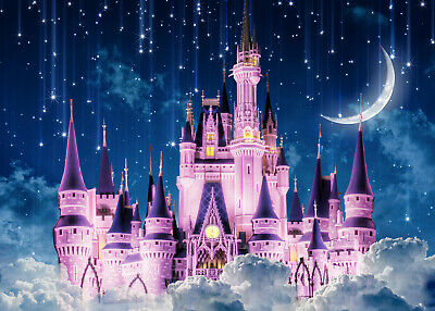 Zhy 7X5ft Fairytale Castle Backdrops High Tower Long Hair Princess Night Bright Lantern Glitter Light Island Castle Girl Birthday Shower Photography Background YouTube Photo Studio Prop