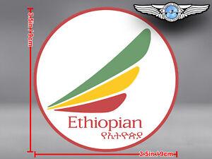 ETHIOPIAN AIRLINES ROUND LOGO STICKER / DECAL