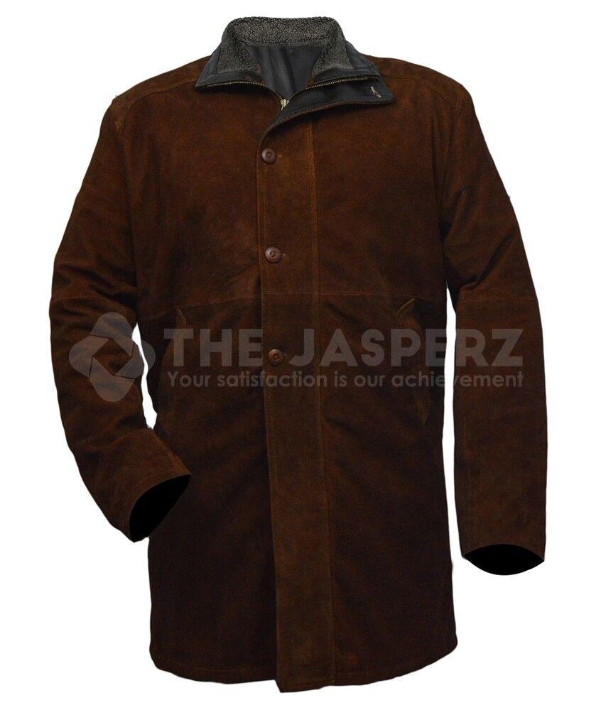 LONGMIRE Sheriff Walt Robert Taylor Brown SUEDE Leather Coat, XXS-5XL