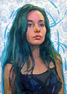 Teen-Girl-Female-Portrait-Sensual-Summer-Sun-Young-Face-Oil-Fine-Art-Painting-2