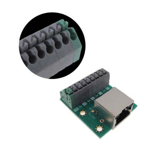 RJ45 Ethernet Breakout Board Screwless Terminal Connector with Indicator LED
