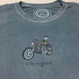 Life Is Good XXL Blue T-shirt 2XL Motorcycle Riding Free Freedom Biker Bike