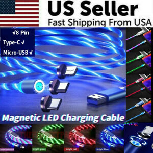 Magnetic-LED-Light-Up-USB-Phone-light-up-Charger-Cord-For-iPhone-Type-C-Micro-US