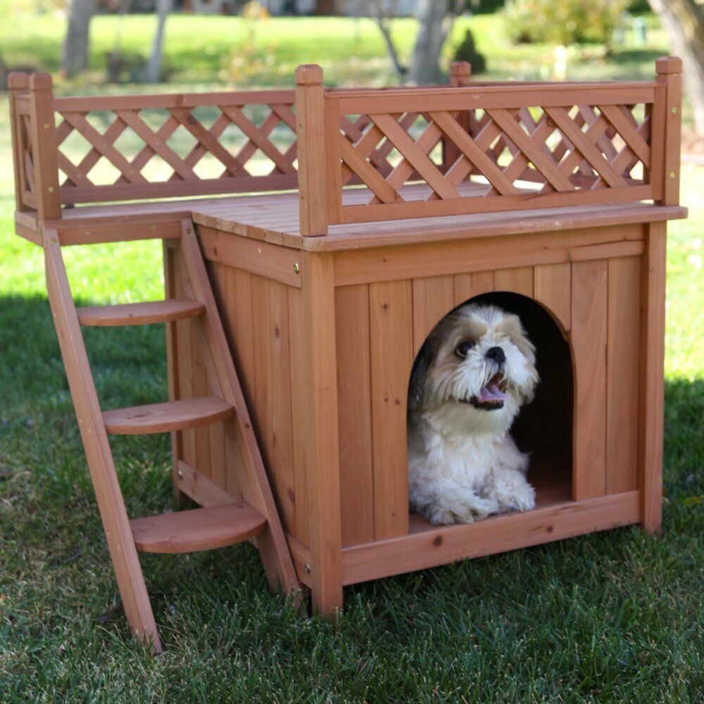 Room With a View Dog House, Cedar Stain, 21  x 29  x 26
