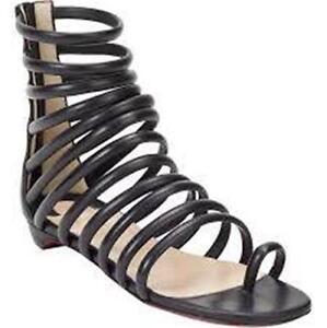 Christian-Louboutin-CATCHETTA-Black-Leather-Gladiator-Flat-Sandals-Shoes-995