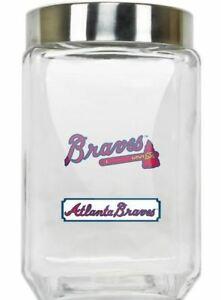Atlanta Braves Jar Glass Canister Large Container With Lid Duckhouse MLB