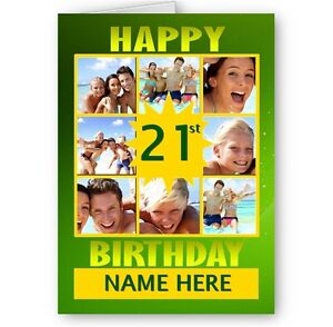 Image Is Loading Personalised Your Photos A5 Birthday Card Various Colours