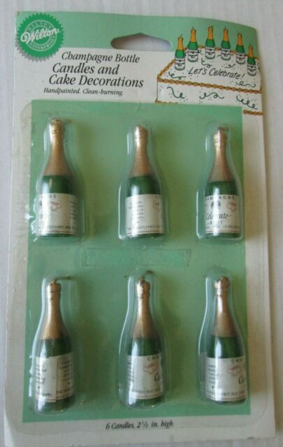 CHAMPAGNE BOTTLE NOVELTY BIRTHDAY PARTY CAKE CANDLES GREEN /& GOLD BUBBLY BOTTLES
