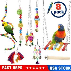 dontdo Wooden Parrot Parakeet Play Toy Pet Bird Hanging Mirror Cage with Stand Perch Supplies