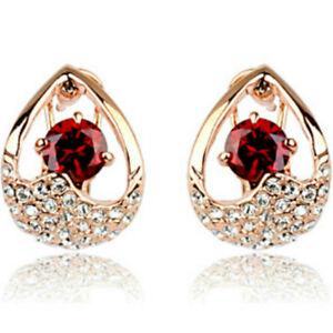 Omega-Rojo-Calidad-de-acabado-de-oro-rosa-vuelve-pendientes-Jewellery-UK-Enero-Piedra