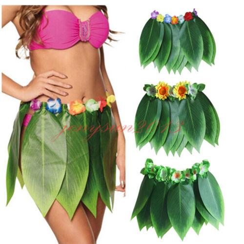 Adults Kids Hawaiian Tropical Hula Grass Leaf Flower Skirt Fancy Dress Costume