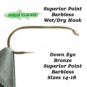 MDI-Game-Superior-Point-Bronze-Down-Eye-Barbless-Wet-or-Dry-Fly-Fishing-Hooks