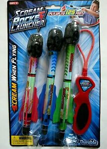 SCREAM-ROCKET-LAUNCHER-3-SCREAMING-ROCKETS-W-FINS-amp-LAUNCHER-125-FT-AGES-3-NEW
