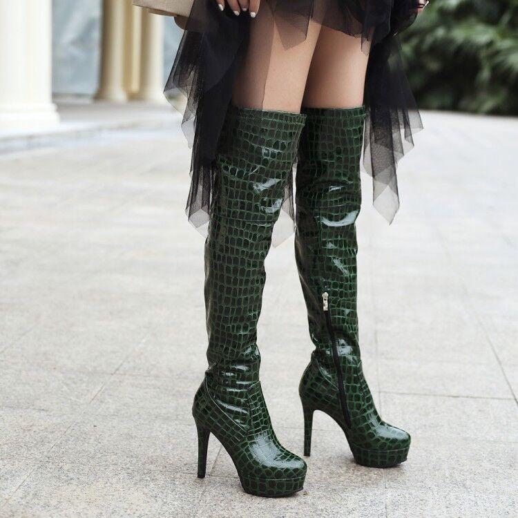 Sexy Overkneestiefel Damen Lackleder Stiletto high heels Platform Stiefel 44 45 46