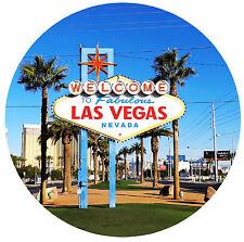 LAS VEGAS, USA - CITY / SIGHTS - ROUND SOUVENIR FRIDGE MAGNET - BRAND NEW - GIFT