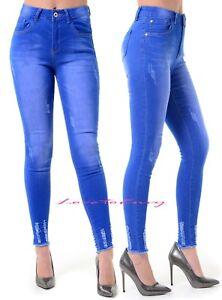 Ladies Womens Slim Tube Skinny fit Blue Dark Wash Distressed Denim Jeans 6-16