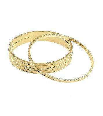 "8"" length and Plated base metal bracelet- FURROW BANGLE SET"