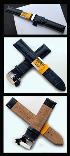 bicolores-gravé bleu acier-Ferme 24 mm Cavadini CUIR VERITABLE montres bracelet