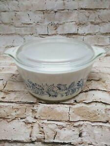 Vintage Pyrex Blue on White Colonial Mist 474-B 1.5L Casserole Dish w/Lid