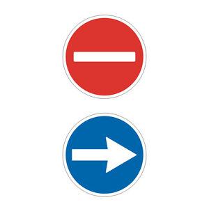 Stickers-plastifies-FLECHE-amp-SENS-INTERDIT-Portes-automatiques-9cm-x-9cm