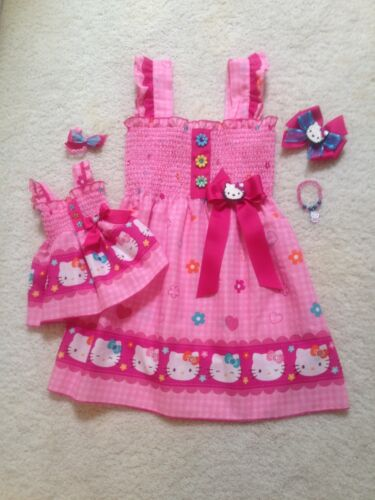 Doll Dress New Handmade Pink w//Flowers Hello Kitty Dress Toddler//Girls 2T-7//8Y