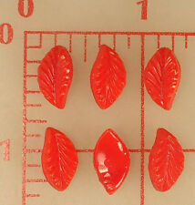 6 vintage wavy red glass leaves textured on one side 14mm x 8mm opaque