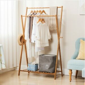Details About Portable Bamboo Indoor 2 Poles Garment Rack Diy Coat Hanger Clothes Wardrobe