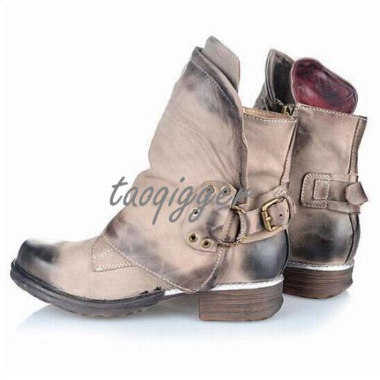 Vintage Shoes Donna Western Buckle Round Toe Ankle Cowboy Punk Stivali Fashion Sz