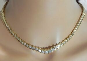 30Ct-Round-Brilliant-Cut-Diamond-Tennis-Necklace-Solid-14K-Yellow-Gold-Finish