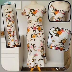KAREN-MILLEN-2-Piece-Skirt-amp-Top-SIZE-12-White-Floral-Summer-Party-WEDDING